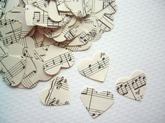 Sheet music heart confetti...can be thrown by the flower girl instead of petals, or during exit instead of rice