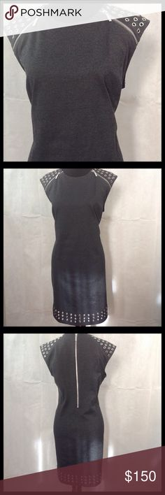 Michael Kors Grey Dress - NWT Michael Kors grey dress with zipper and metal circle detailing.  70% polyester; 25% rayon; 5% spandex. Machine wash cold. KORS Michael Kors Dresses Midi