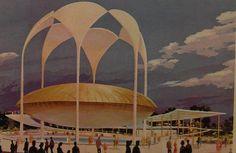 1964 1965 Worlds Fair Johnson Pavilion vintage illustration NEW YORK CITY Queens NYC