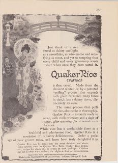 Free Vintage Clipart, Vintage Magazine Ads and Vintage Artwork Perfect for Home & Man-Cave Decor: Vintage 1906 Quaker Puffed Rice Cereal Original Print Ad Breakfast Health Food