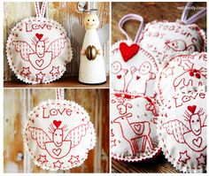The last embroidered Christmas ornaments - Red Brolly