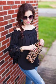 off the shoulder top & leopard clutch // LipglossandLabels.com