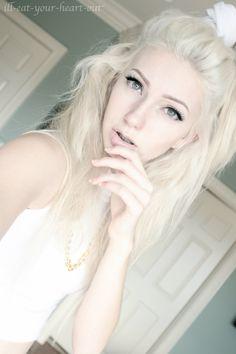 Platinum blonde pompadour hair