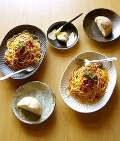 プリーツ楕円パスタ皿 和食器通販【うつわギャラリー*チョイス】