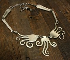 forks cut and plied into octopus necklace
