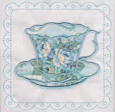 Set of 2 blues,mint green paisley applique teacup fabric quilt squares