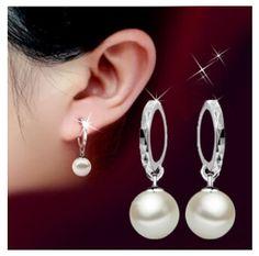Barato Nova chegada 925 prata brilhante CZ diamante de cristal Peal Studs brincos E   brilho jóias T0331, Compro Qualidade Brinco de brilhante diretamente de fornecedores da China:             Bem-vindo à minha loja:                                Http://www.aliexpress.com/store/1304222