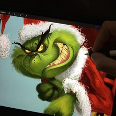 Feeling kind of Grinchy this morning. The Grinch Whos, Cartoon Monsters, Digital Art, Photo And Video, Illustration, Instagram Posts, Christmas, Santa, Videos