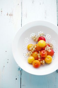 It's just berries and plums in a colander. Simple, perfectly arranged and wonderfully executed photo! Beautiful.