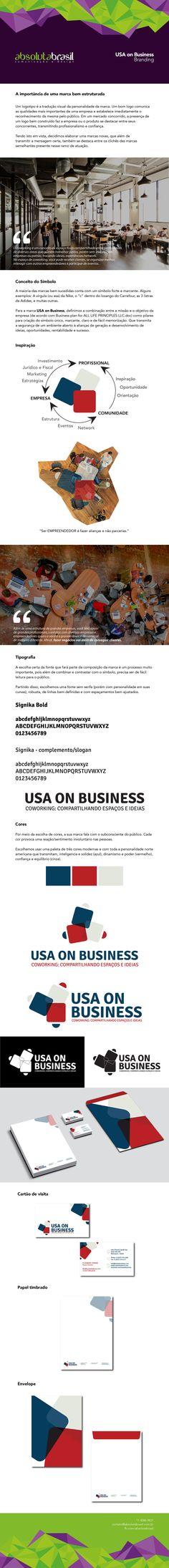 """Desenvolvimento do Branding (posicionamento, atributos, identidade e valor) para """"Usa On Business"""" - Empresa de coworking localizada em Orlando/Flórida - USA. Este material contém Logotipo e Papelaria."""
