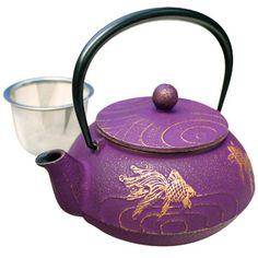 Tetsubin Iron Teapot - Purple with Gold Fish