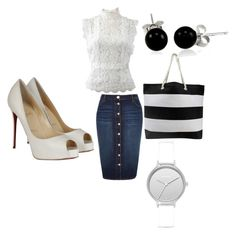 """""""going out with friends"""" by almedinakaric36 ❤ liked on Polyvore featuring River Island, Oscar de la Renta, Christian Louboutin, Bling Jewelry and Skagen"""
