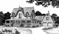 interesting floor plan -- includes space that would work for school room as well as separate stairs to area over garage for Ben's study (Bungalow   Farmhouse  Victorian   House Plan 98581) -- change some style issues (barn, Victorian elements)