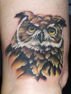 Owl Head Color Tattoo