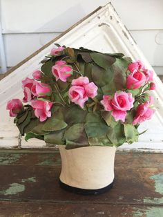 Vintage Hat FLOWER MILLINERY Green Leaves Pink Rose Buds Floral Bucket Style by Holliezhobbiez on Etsy