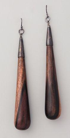 Kristen Elspeth Ebony Teardrop Earrings / These dangle earrings feature a polished wood teardrop and oxidized sterling silver ear wire.