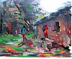 Painting of a section of Akinboijeun village,situated in Abeokuta way,South-West Nigeria.Created by Nigerian Artist Peter Akinwumi.