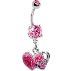 Pink Gem Falling For You Heart Belly Ring. Belly Button Piercing Jewelry, Dangle Belly Rings, Belly Button Rings, Button Jewellery, Jewelery, Nose Rings, Bellybutton Piercings, Peircings, Necklaces