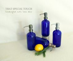 Cobalt Apothecary Style Round Jar Soap Dispenser by KatiesSpecialTouch on etsy