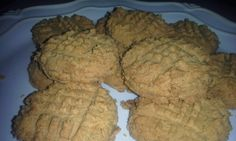 THM flourless cookies  1c natural peanut butter 2 eggs.  6 donks stevia or pk of stevia or on plan sweetener. 1/2tsp baking soda.  1/2tsp baking powder.  4 TBSP of butter 1/4tsp salt 1tsp pure vanilla. Pre-heat oven to 350 degrees.  Mix all ingredients well in bowl. Dip out on lightly greased cookie sheet and press with fork. Bake 8 minutes.