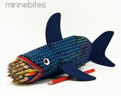 Shark Case by MinneBites / Geeky Gift for Guys - Handmade Navy Blue Fish - Nautical Pencil Case - Desk Accessory Organizer - Office Supplies