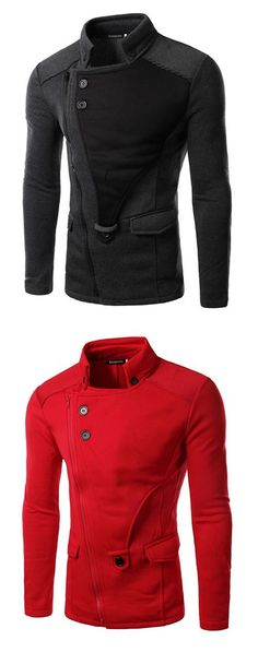 Men's Black/Red/Gray Long Sleeves Fall Jacket