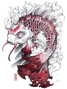 "Koi fish are the domesticated variety of common carp. Actually, the word ""koi"" comes from the Japanese word that means ""carp"". Outdoor koi ponds are relaxing. Koi Tattoo Design, Tattoo Designs, Tattoo Ideas, Tattoo Sketchbook, Tattoo Drawings, Sketchbook Project, Japanese Tattoo Art, Japanese Art, Japanese Patterns"