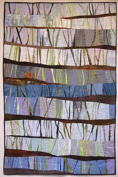 """ art quilt by Janet Windsor Art Fibres Textiles, Textile Fiber Art, Patchwork Quilting, Quilt Inspiration, Quilt Modernen, String Quilts, Tree Quilt, Landscape Quilts, Contemporary Quilts"