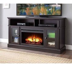 Electric Fireplace TV Stand Media Mantel Entertainment Center Flame Heater Wood #ElectricFireplaceTVStandUSA