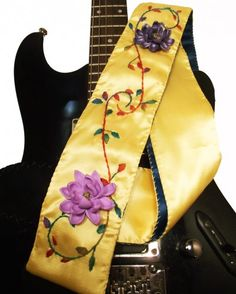Purple and Yellow Floral Guitar Strap Hand Embroidered Hand Beaded | #Coolstraps - Music/Instruments on #ArtFire