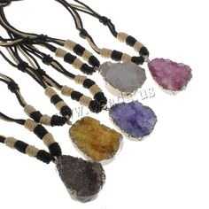 Natural Agate Druzy Pendant Ice Quartz Agate with Waxed Linen Cord Nuggets silver color plated druzy style more colors for choice Sold Per Approx Inch Strand Druzy Jewelry, Beaded Jewelry, Wholesale Jewelry, Silver Color, Agate, Cord, Plating, Quartz, Hair Accessories