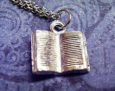 Silver Open Book Necklace - Silver Pewter Open Book Charm on a Delicate 18 Inch Silver Plated Cable Chain