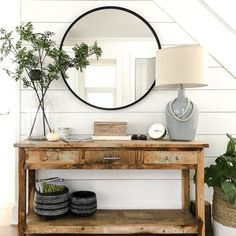 Dining room console Foyer Console table decor Shiplap Accent Wall Shiplap walls and a . - Dining room console Foyer Console table decor Shiplap Accent Wall Shiplap walls and a … - Hallway Table Decor, Room Decor, Side Table Decor, Accent Table Decor, Entryway Table Decorations, Foyer Tables, Side Table Styling, Console Styling, Wall Decor