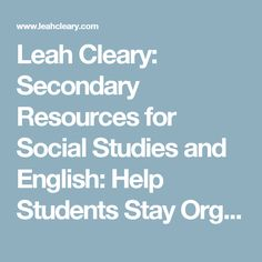 Leah Cleary: Secondary Resources for Social Studies and English: Help Students Stay Organized With The Google Classroom Stream