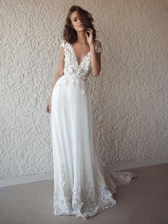 Sexy Backless Cap Sleeves Long Wedding Dresses Online, Cheap Bridal Dr – SposaDresses White Beach Wedding Dresses, Beach Bridal Dresses, V Neck Wedding Dress, Applique Wedding Dress, Long Wedding Dresses, Perfect Wedding Dress, Tulle Wedding, Cheap Wedding Dress, Boho Wedding Dress