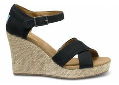 Black Canvas Women's Strappy Wedges | TOMS.com