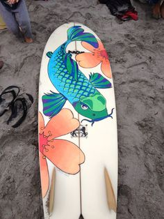 surfboards painted with fish painted on them | South Coast Retro Fish Surfboard With Custom Artwork