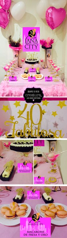 Mesa dulce de Sexo en Nueva York, Dessert table Sex in the city. See more party planning ideas at http://creaturadiseno.blogspot.com.es/search/label/Fiestas%20y%20eventos #birthday #glitter #party #sweet #pink #cake #topper #Sexinthecity #ballet #dancer #gold #desserttable #40th #JanaGlamurama #CarrieBradshaw #label