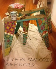 OMG and I only painted mine turquoise so my husband wouldn't rob them like the last pair, true story!... sawhorses from Habitat for Humanity. For my studio! Used Chalk Paint® decorative paint by Annie Sloan and @Royal Design Studio Stencils.