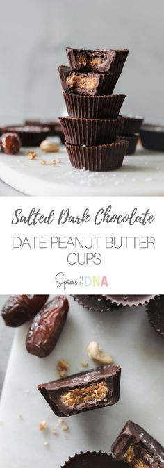 Salted Dark Chocolate Date Peanut Butter Cups are a healthier version of my favorite treat! Candy Recipes, Dessert Recipes, Cashew Recipes, Pecan Recipes, Detox Recipes, Chocolate Recipes, Drink Recipes, Free Recipes, Holiday Recipes