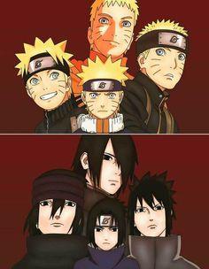 Naruto e Sasuke evolucion : 12 - 15 - 20 - 30 years
