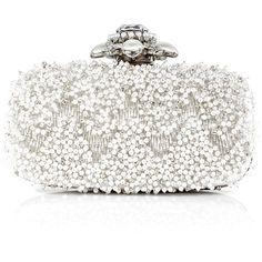 Bags Ivory Satin Beaded Goa Evening Clutch ($1,690) ❤ liked on Polyvore featuring bags, handbags, clutches, modaoperandi, ivory handbag, holiday purse, special occasion clutches, evening handbags and satin clutches