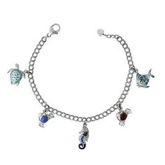 Nicole Barr Ocean Treasures Silver, Pearl and Diamond Enamel Bracelet