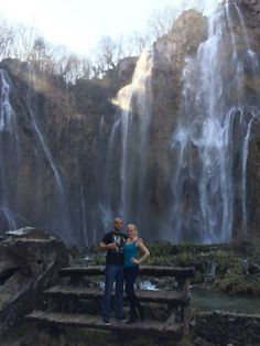 Jen and Milos by the Great Falls in Plitvice Lakes National Park #Croatia #Plitvice