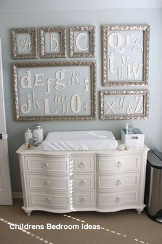 Baby G's Elegant Gender Neutral Nursery Cute idea for decorating a baby/child's room. Baby G Nursery Room, Girl Nursery, Nursery Decor, Room Decor, Room Baby, Nursery Ideas, Alphabet Nursery, Nursery Crafts, Nursery Collage