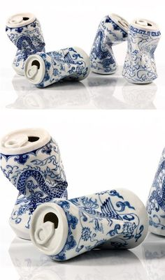 Artist Lei Xue skillfully sculpts and paints porcelain sculptures that look like. Artist Lei Xue skillfully sculpts and paints porcelain sculptures that look like smashed cans with Ceramic Pottery, Ceramic Art, Slab Pottery, Ceramic Bowls, Thrown Pottery, Pottery Wheel, Pottery Vase, Ceramic Mugs, Cerámica Ideas