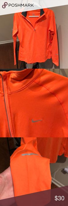 Nike Long Sleeve Quarter Zip (size Large) New and great condition! Long sleeve dri fit quarter zip. Bright orange, almost a neon. Nike Jackets & Coats
