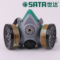 The new 2017 gas mask double filter box of four valve paint respirator high quality silica gel respirator dust mask LA standards