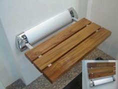 "Bath Caddies & Storage,12"" Teak Mini Folding Shower Seat Bench - Crosslinks"