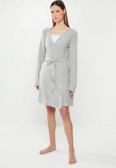 Rib mix and match lounge robe - grey Missguided Sleepwear | Superbalist.com Sleepwear Women, Lingerie Sleepwear, Hip Bones, Belt Tying, Mix N Match, Missguided, Lounge, Dresses For Work, Grey